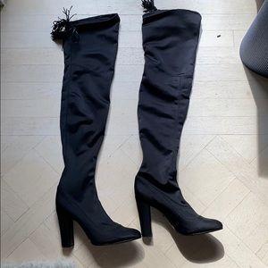 Shutz brand new thigh high sateen boots